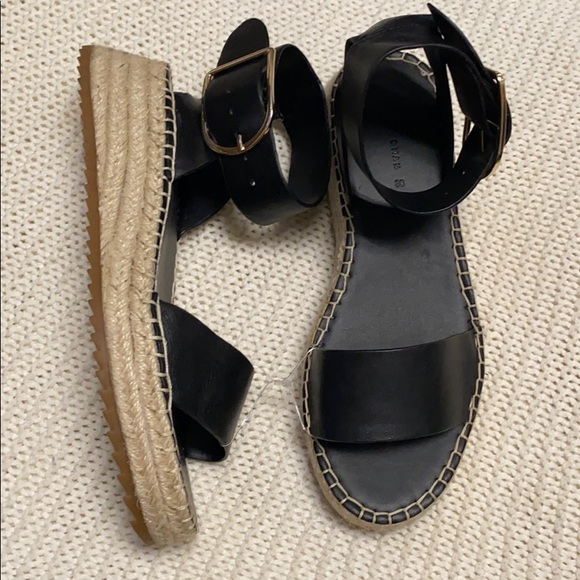 Zara Black Leather espadrille Sandals 7.5/8